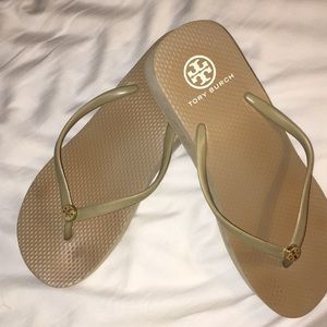 Tory Burch Tan Flip Flops